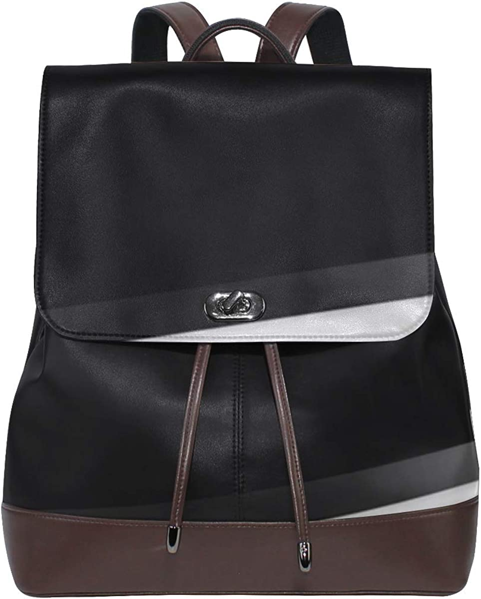 Women PU Leather Oakland Mall Banner Design Grey Shining Backpack Black Max 57% OFF Purse