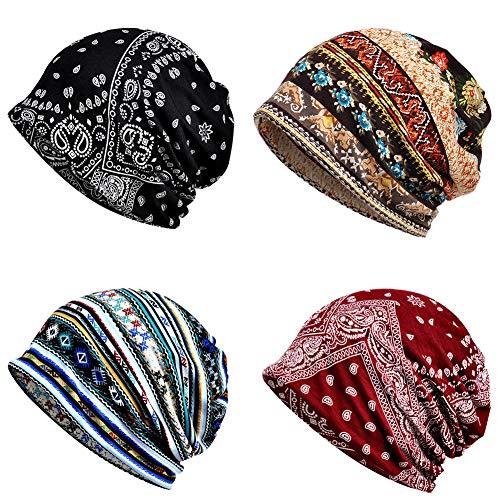 4 PCS Women Baggy Slouchy Beanie Chemo Hat Cap Slouchy Snood Hat Cancer Headwear
