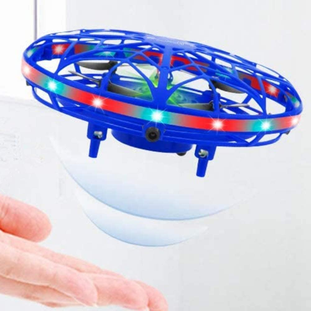 Hand Operated Drones for Kids or Adults Helicopter with 360/° Rotating and Shinning LED Lights Blue UFO Flying Ball Toys Easy Indoor Small Flying Toys for Boys or Gir