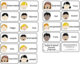 Emotions Flash Cards in English and Spanish. 20 Preschool Emotions Learning car