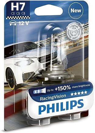 1 BOMBILLA PHILIPS RACING VISION H7 +150% LUZ LAMPARA PX26d COCHE MOTO XTREME