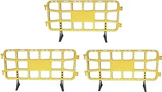 Valla de plástico obra peatonal en color amarillo, valla reforzada con patas extraíbles de 2 metros (3- Vallas amarillas)
