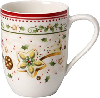 Villeroy & Boch Winter Bakery Delight beker met handvat, fijn premium porselein, wit/rood/beige, 32,2 x 21,5 x 11,7 cm