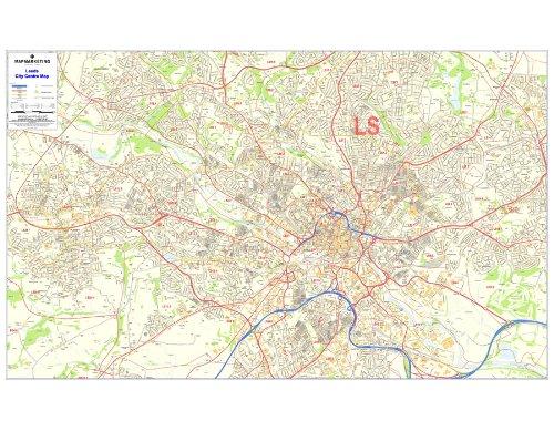 Leeds Postleitzahlkarte – laminierte Stadtmitte Karte 6