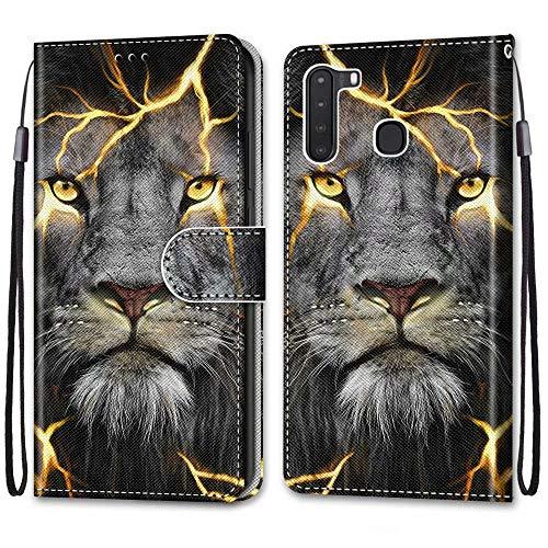Nadoli Bunt Leder Hülle für Samsung Galaxy A21,Cool Lustig Tier Blumen Schmetterling Entwurf Magnetverschluss Lanyard Flip Cover Brieftasche Schutzhülle mit Kartenfächern