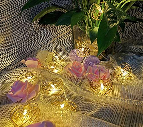 YXYY Indoor String Lights, Metal Heart String Lights 3M 20LED Fairy String Lights Geometric Gold Metal Fairy Lights Battery For garden outdoor party
