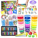 DIY Slime Kit - Schleim Selber Machen with 24 Colors Crystal Clear Slime, Glitter Powder, Unicorn...