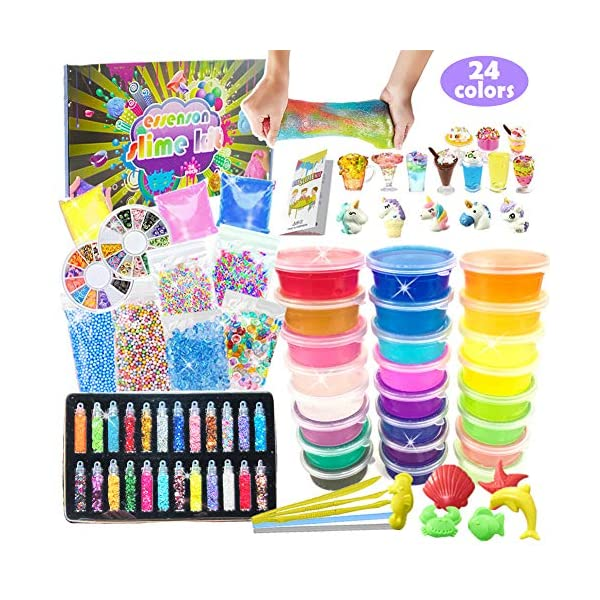 ESSENSON Slime Kit for Girls Boys - DIY Slime Supplies with 24 Colors Crystal Clear Slime, Glitter Powder, Unicorn Slime Charms, Air Dry Clay, Kids Art Craft Toys Gifts for Kids Age 6+ Year Old 3