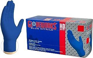 AMMEX GWRB46104E0BX Guantes desechables de nitrilo, azul