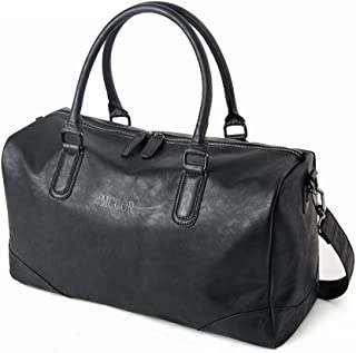Vintage PU Leather Oversized Weekender Duffel Bag Overnight Handbag Black