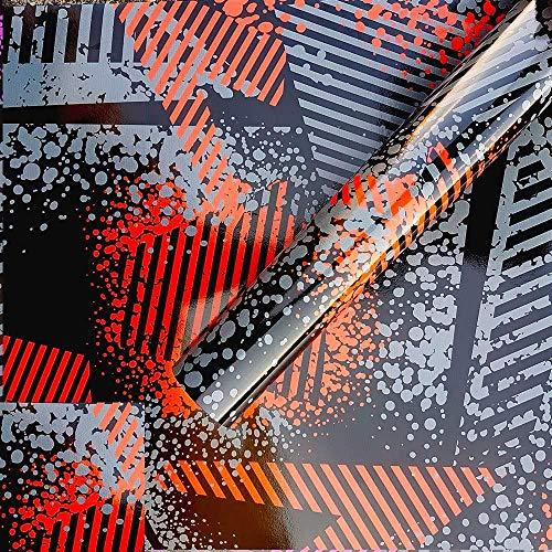 Street Camo Rosso Pellicola Adesiva Mimetica Car Wrapping Adesiva Rivestimento Auto Moto - 38X50Cm
