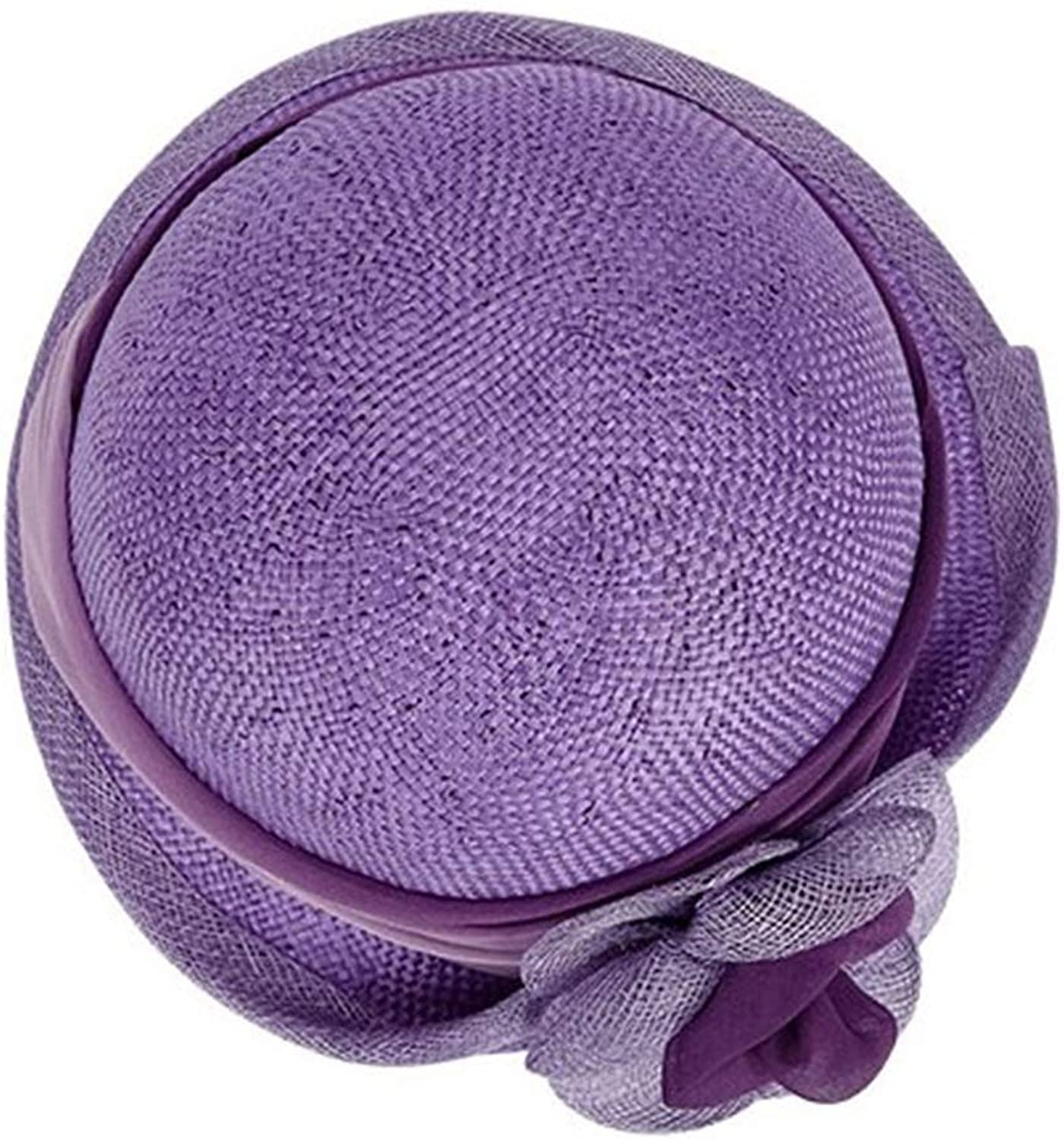 CEFULTY Spring and Summer Sisal Hats Hemp Yarn Flowers Mesh Hats Ladies Beach Vacation Visor (color   Purple, Size   One Size)