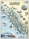Poster mit der englischen Karte von Alaska – authentische