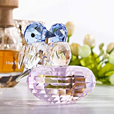 H&D HYALINE & DORA Set 2 Crystal Cut Bird of Happiness Collectible Figurines Glass Animal Figurine for Table Home Dec