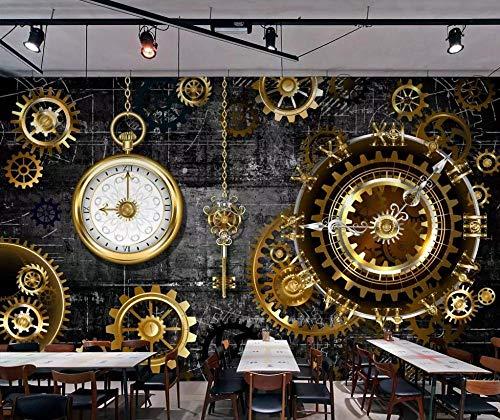 ZGHONG 3D driedimensionale Europese en Amerikaanse industrie wind goud tandwiel klok muurschildering achtergrond muur muur muur muur muur 250 x 175 cm.