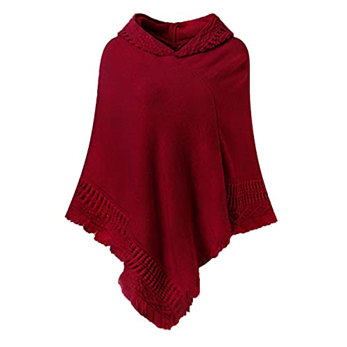8e6dcc7fe SUNNYME Women's Ponchos Shawls Capes Hooded Knitted Wrap Coats Hoodies  Sweater Tops
