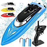 RC Boat Remote Control Boats for Pools and Lakes, Wemfg RH701 15km/h High Speed Mini Boat Toys for Kids Adults Boys Girls Blue