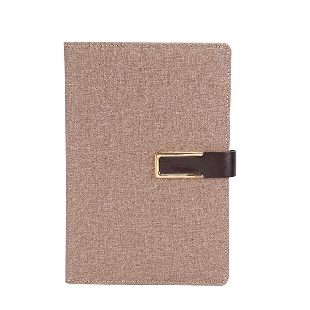 オフィスノート A5ビジネスノート作業日記ハード面会記録帳を厚くするバックルノートブック文房具 (Color : Light brown, サイズ : 15*22cm)