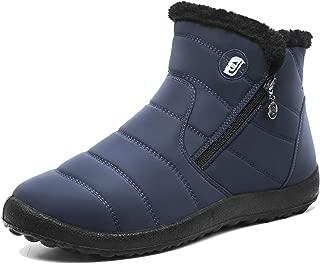 Mens Snow Boots Women Winter Anti-Slip Ankle Booties Waterproof Slip On Warm Fur Lined Sneaker