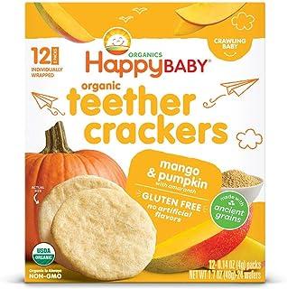Happy Baby Organics Organic Teether Crackers Gluten Free Mango & Pumpkin With Amaranth, 0.14 Oz, 12 Packets, 6Count