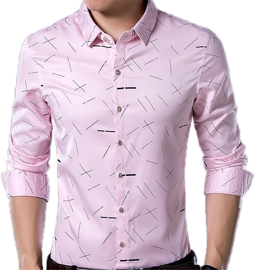 CDQYA Long Sleeve Line discount Shirts Men Slim Men' Fashions Fit Vintage Mesa Mall