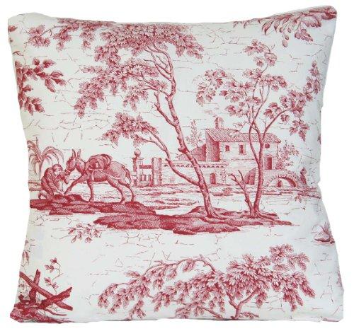 Rouge Housse de coussin en toile Design Français Couvre-lit décoratif taie d'oreiller d'Âne style vintage en toile textile marvic la chasse l'