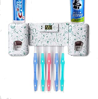 Guiguiyue Toothbrush Holder Automatic Toothpaste Dispenser Set Dustproof with Super Sticky Suction Pad Wall Mounted Kids Hands Free Toothpaste Squeezer for Bathroom Accessories Kit