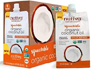 Nutiva Organic, Neutral Tasting, Steam Refined Coconut Oil, Squeezable 12 Fl Oz (Pack of 4)