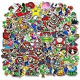 POMNUG 100 pegatinas de Super Mario Bros de vinilo impermeables para botella de agua, portátil, equipaje, monopatín