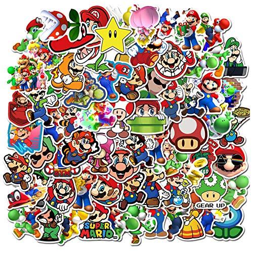 POMNUG 100 PCS Super Mario Bros Aufkleber Mario Vinyl wasserdichte Aufkleber niedliche Cartoon Aufkleber für Wasserflasche, Laptop, Gepäck, Skateboard