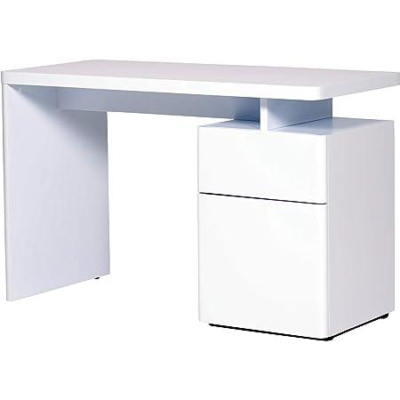 Marque Amazon -Movian Ohrid - Bureau à 1 porte et 1 tiroir, 120x55x76cm, Blanc à finition ultra-brillante