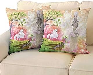 RuppertTextile Cartoon Customized Pillowcase Fantastic Unicorn Castle Cushion W14 x L14