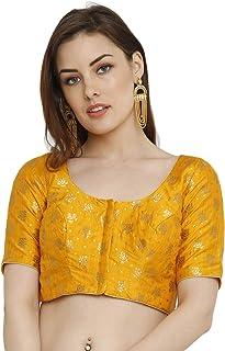 a778a361aff34e Salwar Studio Women's Mustard Dupion Silk Readymade Padded Saree Blouse(SSB2039_Mustard_Size  : 32-42