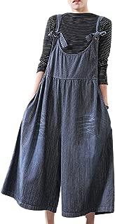 Women Casual Loose Wide Leg Cropped Denim Bib Pants Scratch Distressed Jumpsuits/Pockets PKR