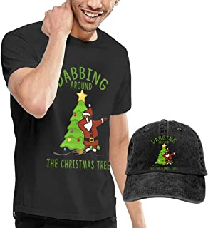 Camisetas y Tops Hombre Polos y Camisas, Dabbing Around The Christmas Tree Dab Santa Fashion Men's T-Shirt and Hats Youth & Adult T-Shirts