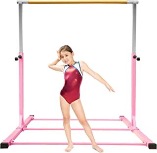 SHIWEI Gymnastics Bar for Kids,Gymnastics Training Equipment,Junior Horizontal Kip Bar Height Adjustable 3ft-5ft