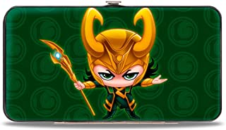 Buckle-Down womens Buckle-down Hinge - Chibi Thor Pose + Loki/Loki Logo Greens/Gold Wallet, Multicolor, 7 x 4 US