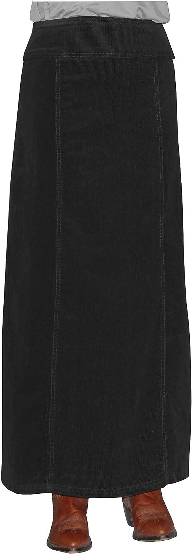 Baby'O Women's Long Ankle Length Stretch Corduroy ALine Panel Skirt