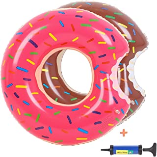 MayDolly Donut Pool Float with Hand Pump,Inflatable Swimming Ring 60CM for Children Kids 3-10 Years 2 Packs (Strawberry & ...