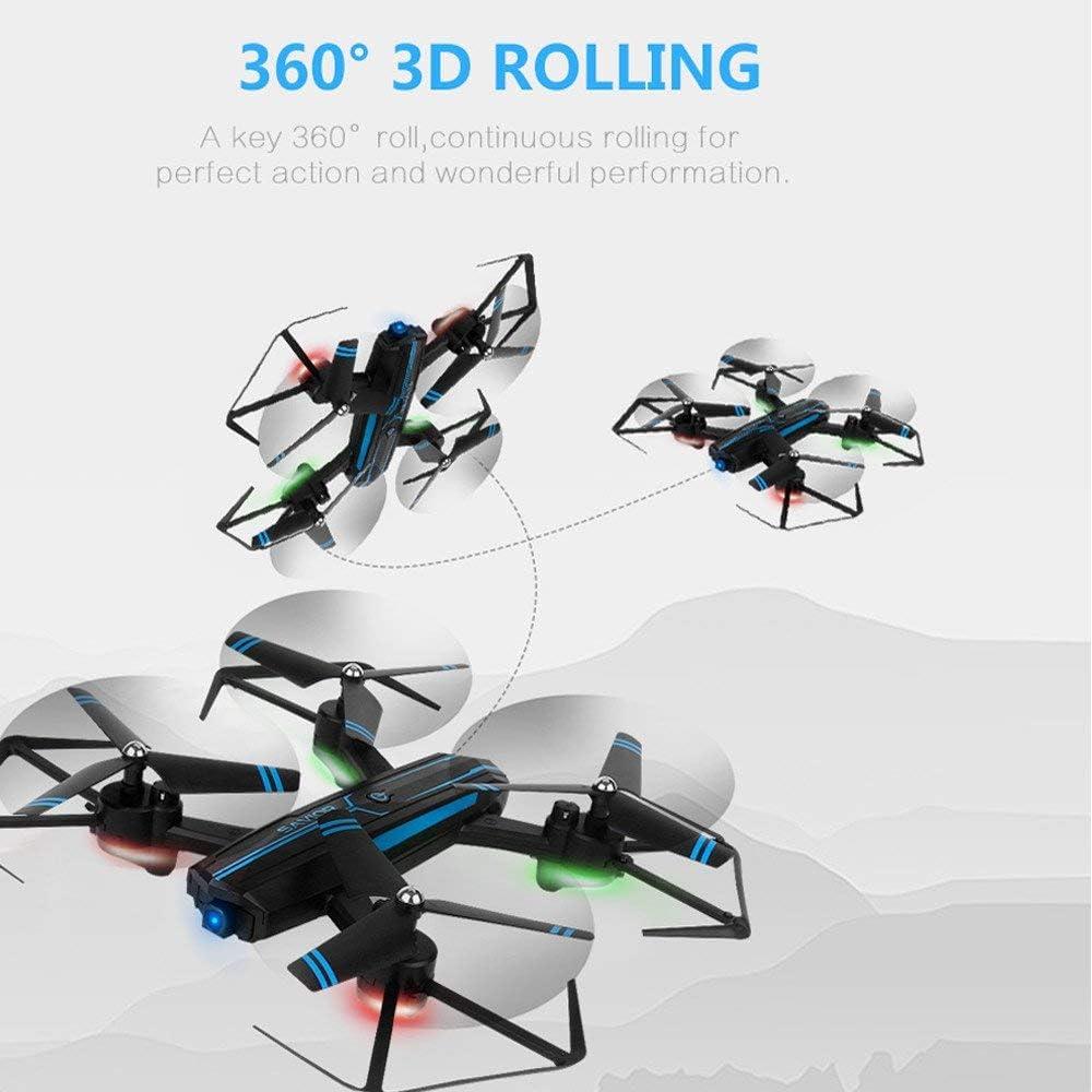 Drone 2.4GHz 6-Axis Gyro LED Mini Drone Léger pour Enfants 3D Flips Réglable Grand Angle Pliable Altitude Mobile APP Contrôle Hélicoptère A
