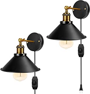 Dimmable Metal Wall Sconce 2-Pack Black Hardwire Industrial Vintage Wall Lamp Fixture Simplicity Arm Swing Wall Lights