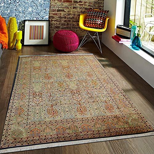 TrendyLiving4U tapijt woonkamer laagpolig Kashmir zijde Hamadan handwerk 214x313CM blauw