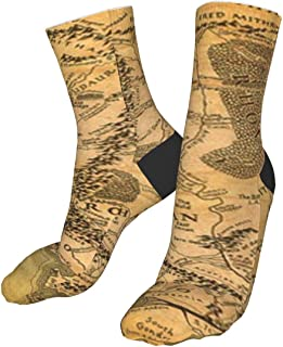 Chaussettes confortables en coton pour homme et femme Motif carte du Seigneur des Anneaux