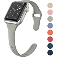 SWEES Sport Silicone Band Compatible Apple Watch 38mm 40mm, Soft Silicone Slim Thin Narrow Small...
