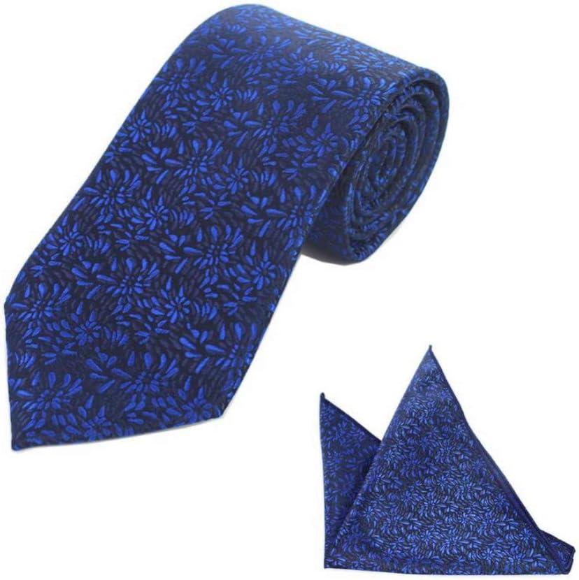 WOXHY New Floral Striped 8Cm Silk Wedding Jacquard Woven Men Tie Paisley Necktie Pocket Square Handkerchief Set Navy Blue Tie