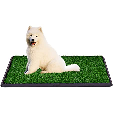 DELMANGO Indoor Dog Potty Tray - Dog Grass Pad,Puppy Potty Training Grass, Artificial Grass Mats for Dog,Dog Fake Grass Pee Pad,Reusable 3 Layered Dog Potty Trainer,Easy to Clean
