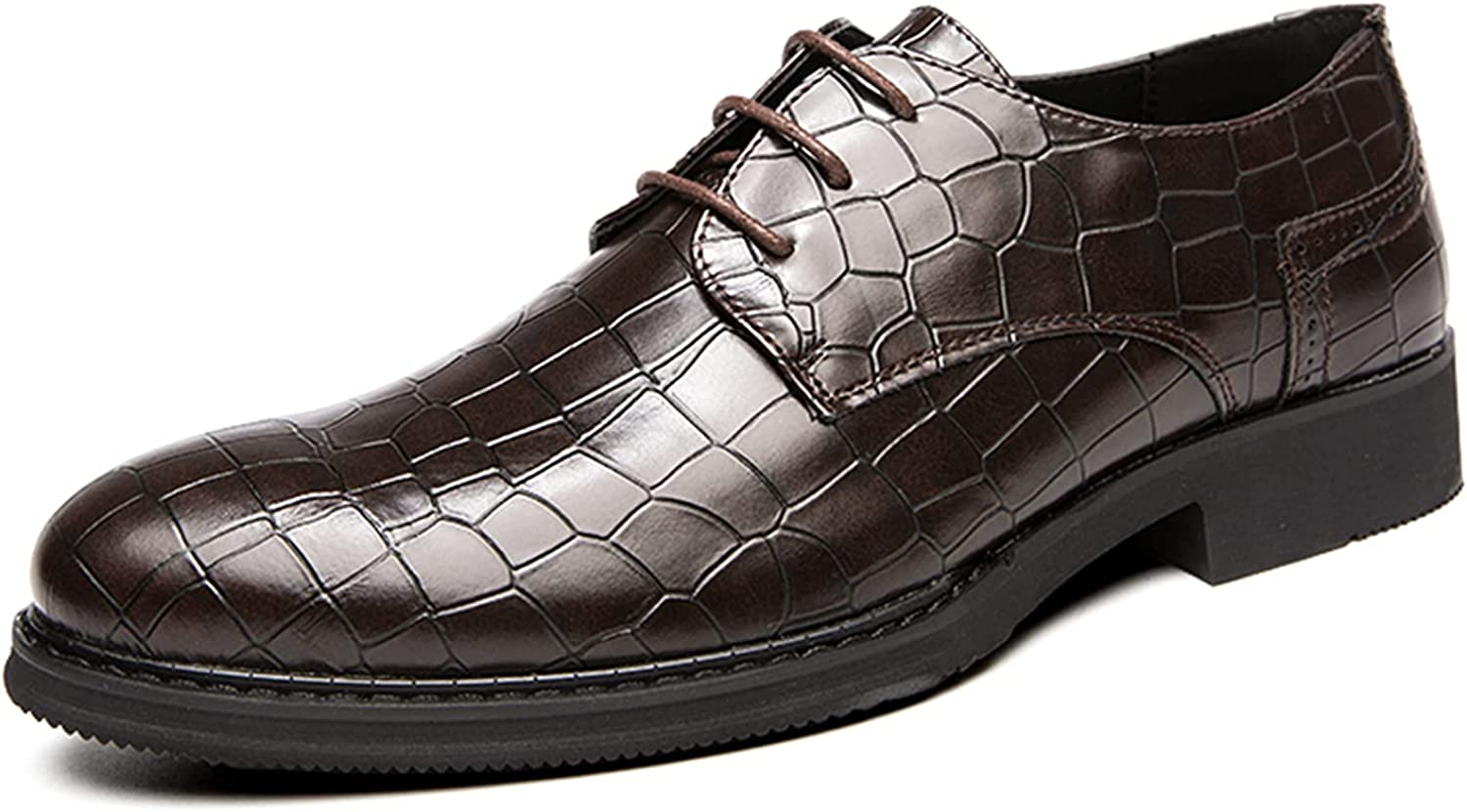Men's Oxford Crackle Leather Shoes Comfortable Casual Breathable Dress Shoes