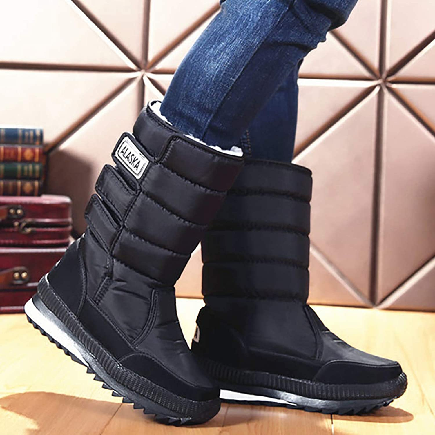 Snow Boots Couple Men and Women with Winter shoes, Warm Large Size Snow shoes, Black Warm Women's Tube,Black,47