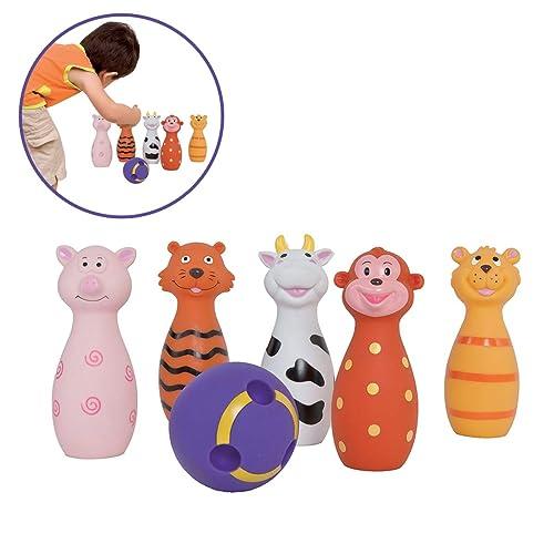 LUDI - Jeu de 6 quilles en forme d'animaux. Dès 10 mois. Plastique souple et résistant. Balle adaptée aux petites mains. 1er jeu de bowling. Développe la dextérité et de la motricité - 3455