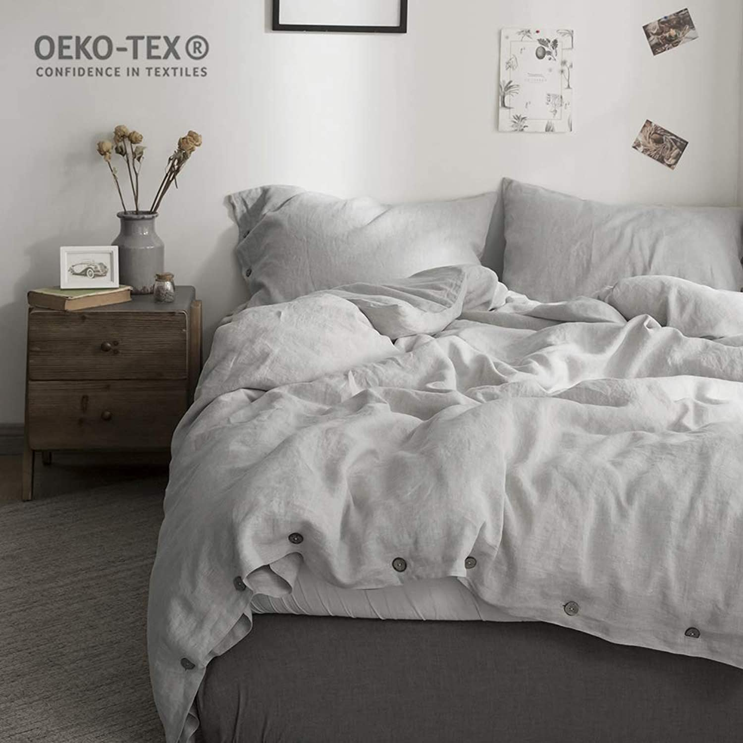 Simple&Opulence 100% Washed Linen Coconut Wood Deduction Solid Grey Bedding Set with 1 Duvet Cover 1 Pillowcase (Twin, Light Grey)